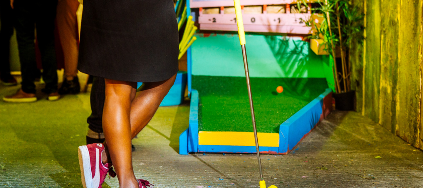 Taking our inspiration from the amazing multicultural community of Peckham itself, we've created a mini-golf island paradise right there at the bottom of the levels.